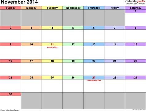 Calendar For November 2014 November 2014 Calendars For Word Excel Pdf