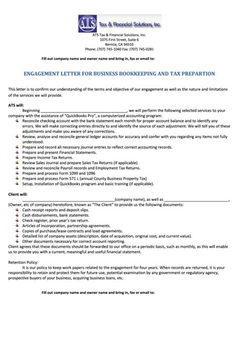 Tax Engagement Letter Template by Engagement Letter For Business Bookkeeping And Tax