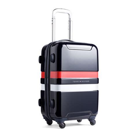 designer cabin luggage hilfiger cruise cabin 4 wheels trolley in blue lyst