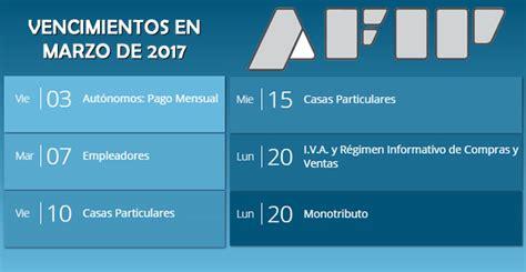 vencimientos anticipos de iva 2016 cronograma con fechas de vencimientos de afip en mayo de