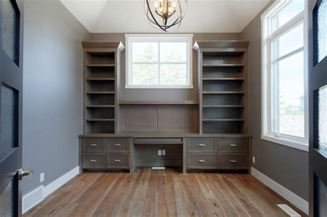 Gray Painted Kitchen Cabinets office built ins home office contemporary with bookcase