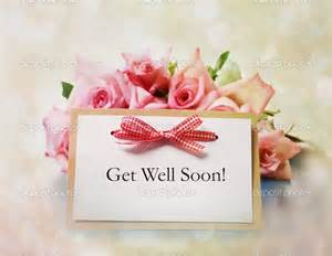 Get well soon red bow and flowers greeting card