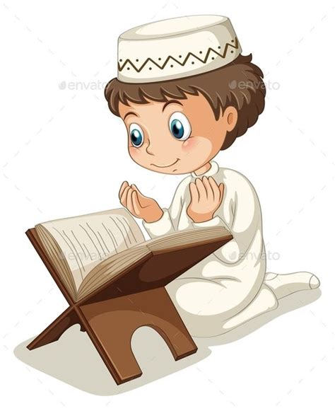 a muslim boy books muslim praying image vector and children