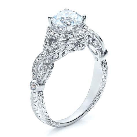 antique criss cross shank engagement ring vanna k 100072