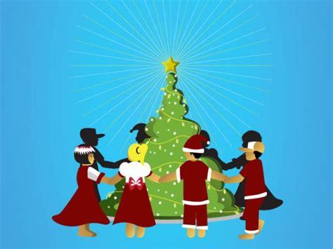 kinder rund um den weihnachtsbaum download der