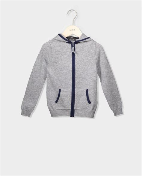 Jaket Team Player My Gray hooded jacket with zip grey melange navy allude