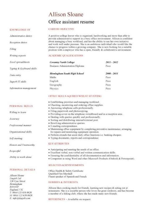 Assistant Resume No Experience Entry Level Resume Templates Cv Sle Exles Free Student College Graduate
