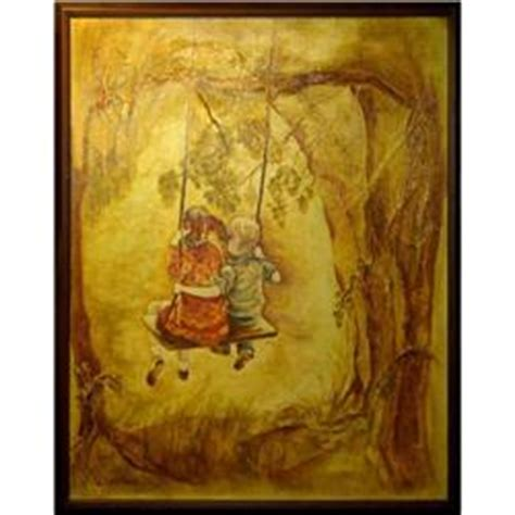 painting of boy and girl on swing orig oil painting of boy and girl on a swing 2324397