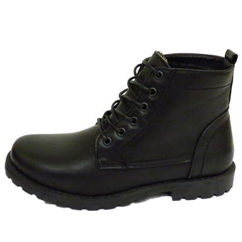 mens black ex designer lace up combat army ankle