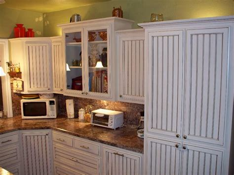diy beadboard kitchen cabinets crafted white glazed beadboard kitchen by oak tree