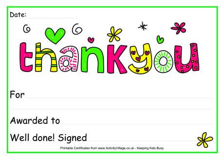 thank you certificate templates free thank you award certificate
