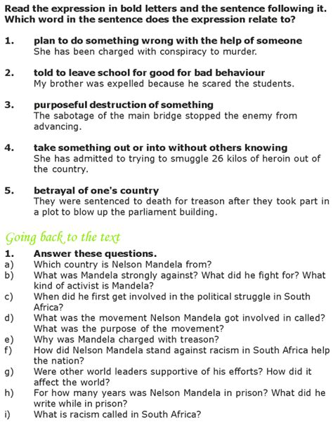 questions on biography of nelson mandela grade 7 reading lesson 14 biographies nelson mandela 3