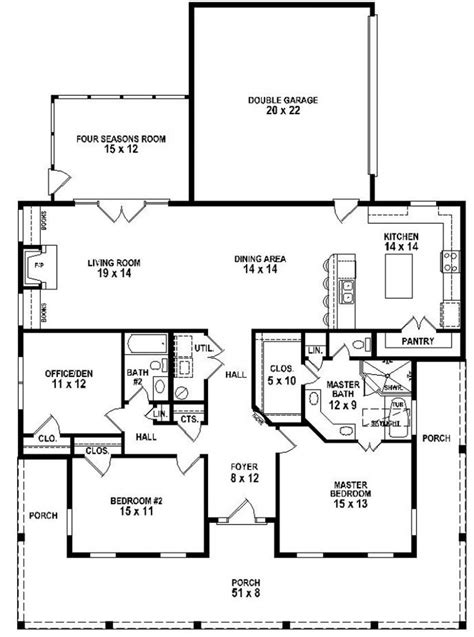 653881 3 bedroom 2 bath southern style house plan with