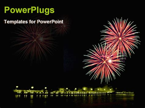Powerpoint Template Mid Night View Of Lighted Up Fireworks In The Sky 19036 Fireworks Powerpoint Animation