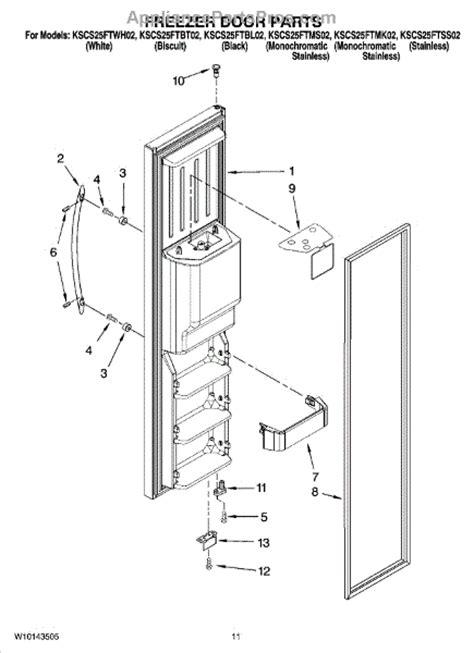 Refrigerator Door Replacement Parts by Parts For Kitchenaid Kscs25ftms02 Freezer Door Parts