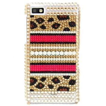 Gold Product Blackberry Z10 bling leopard gold pearl blackberry z10 blackberry