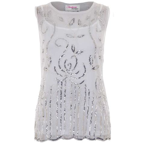 beaded and sequined tops sequin beaded mesh top with cami white silver