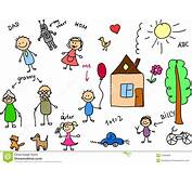 Happy Family Childrens Drawing Vector Royalty Free