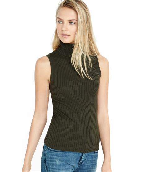 Sweater Rajut Pria Mock Turtleneck Green 1 lyst express sleeveless ribbed turtleneck sweater in green