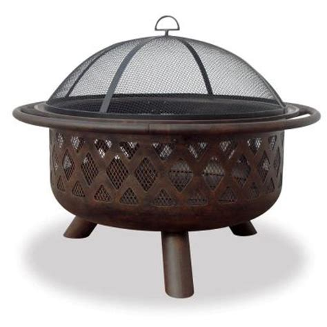Home Depot Firepits Uniflame Lattice Design Rubbed Bronze Pit Wad792sp The Home Depot