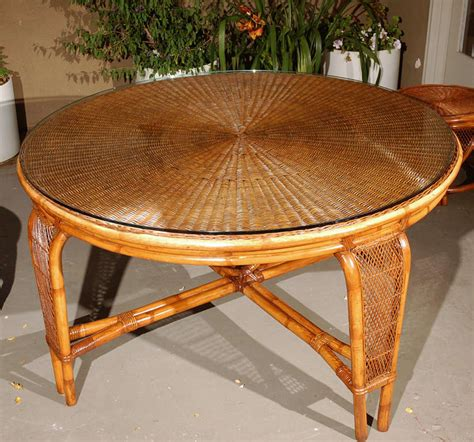 vintage rattan dining table chairs  stdibs