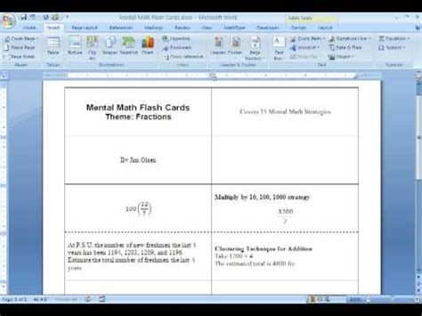 make flash cards in word flash cards using msword 2 of 2