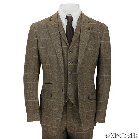mens 3 tweed suit vintage herringbone check retro