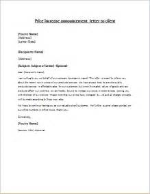 Business Letter Template Price Increase Price Increase Announcement Letter Writeletter2