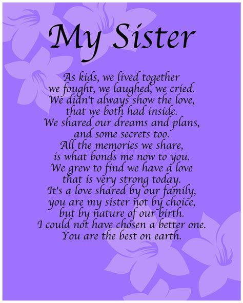 Personalised My Sister Poem Birthday Anniversay Leaving