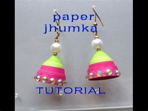 How To Make Easy Paper Earrings At Home - how to make paper jhumkas earring easy method design 1