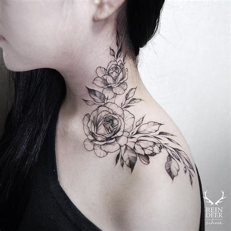 neck tattoo placement rose neck tattoos rose neck tattoo girl tattoo designs