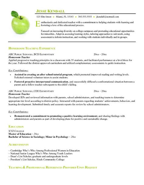 Resume Templates Teachers by Free Homeroom Resume Exle