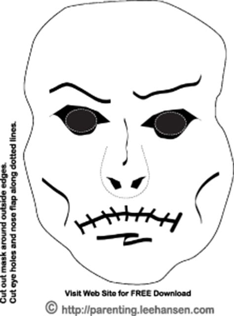 zombie mask coloring page halloween coloring pages and paper craft sheets