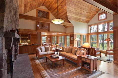 craftsman great room with loft by frank mccarthy