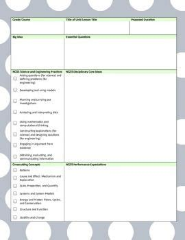 word ngss lesson template gray lime polka dot