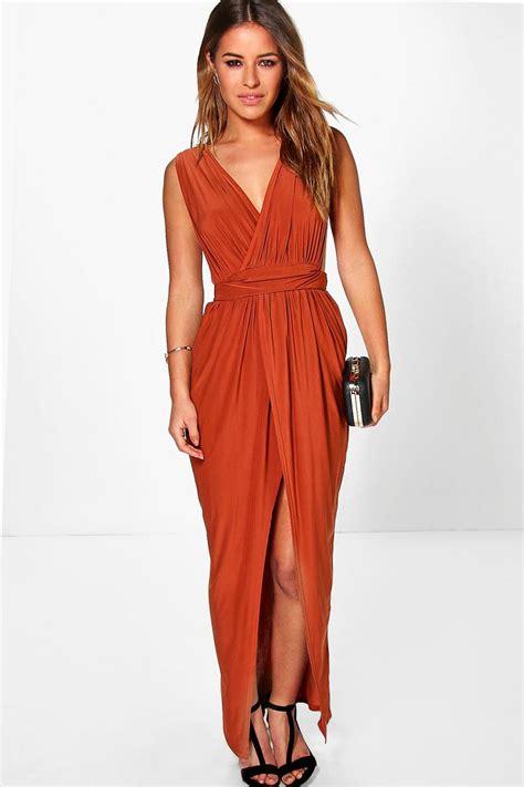 Maxi Dress New Afida new boohoo womens plunge drape maxi dress in polyester 5 elastane ebay