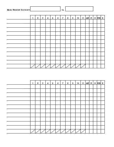 basic baseball scorecard office templates