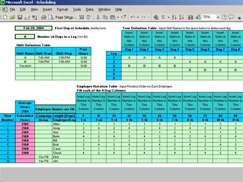 rotating weekend schedule template work schedules software