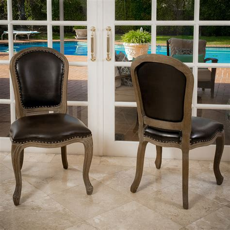 trafford leather weathered wood dining chairs set of 2