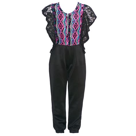 Jumpsuit Motif 14 big fuchsia black kaleidoscope pattern lace detail jumpsuit set 14 jet