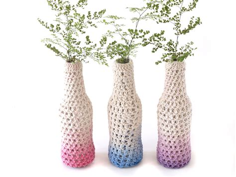 vase patterns free crochet pattern for vase from a recycled glass bottle