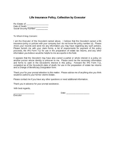 Release Letter To Beneficiary Insurance Policy Collection By Executor Hashdoc