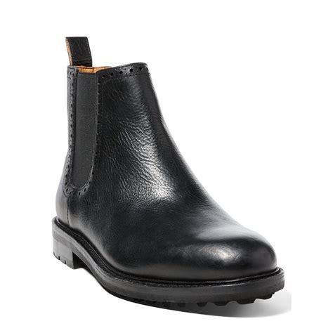 polo ralph numan leather boot in black for lyst