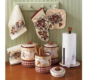 hearts and stars kitchen set primitive country hearts pip berries and vines canister set towels above the cabinet