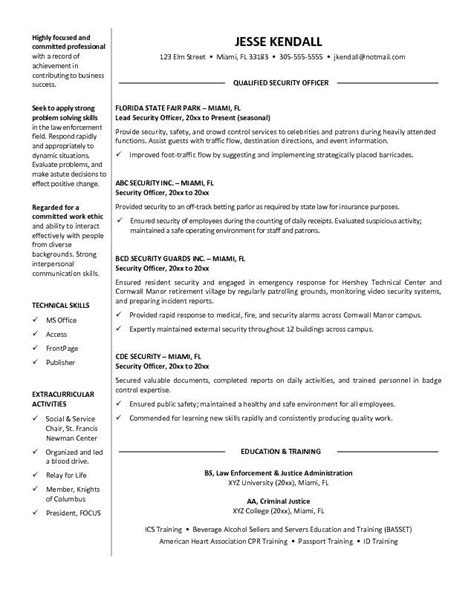 security resume template guard security officer resume guard security officer