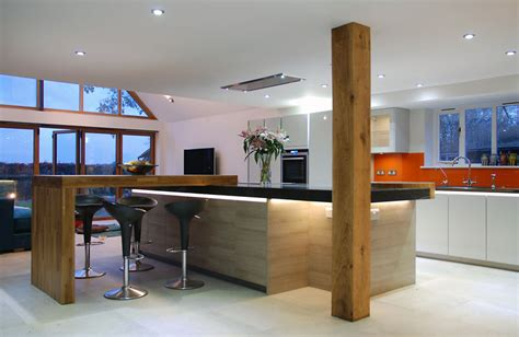 kitchen island worktops handleless grey quartz worktops and solid oak detail uckfield