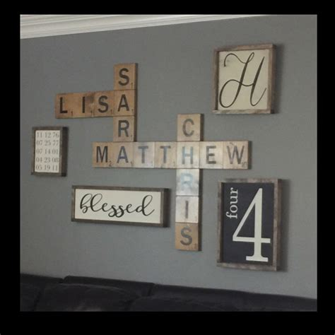 Home Decor Style Names Scrabble Wall Display Family Names In A By Traylormadedesigns