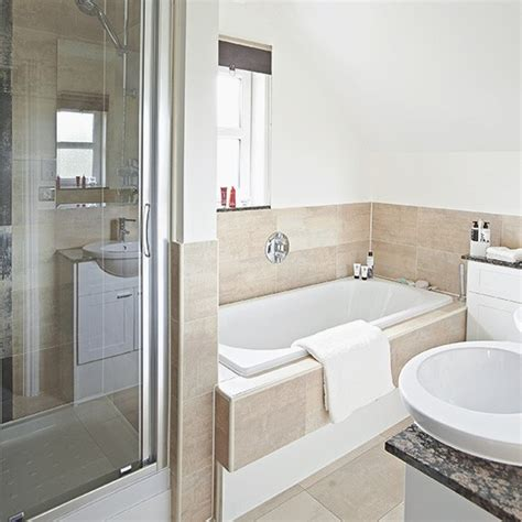tiled splashbacks for bathrooms white bathroom with neutral tile bath panel and