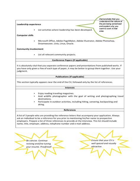 Basic Curriculum Vitae Template by Basic Curriculum Vitae Exle Free