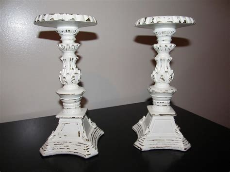 two piece shabby chic pillar candle holders antique white